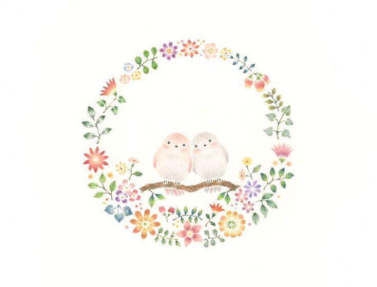 """Little Birds and Wreath"" −RiLi, picture book, illustration, design ___ ""幸せな小鳥と花の輪"" −リリ, 絵本, イラスト, デザイン ...... #bird #wreath #flower #鳥 #花輪 #花"