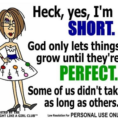 Entire Saying: Heck, yes, I'm short. God only lets things grow intil they're perfect. Some of us didn't take as long as others.