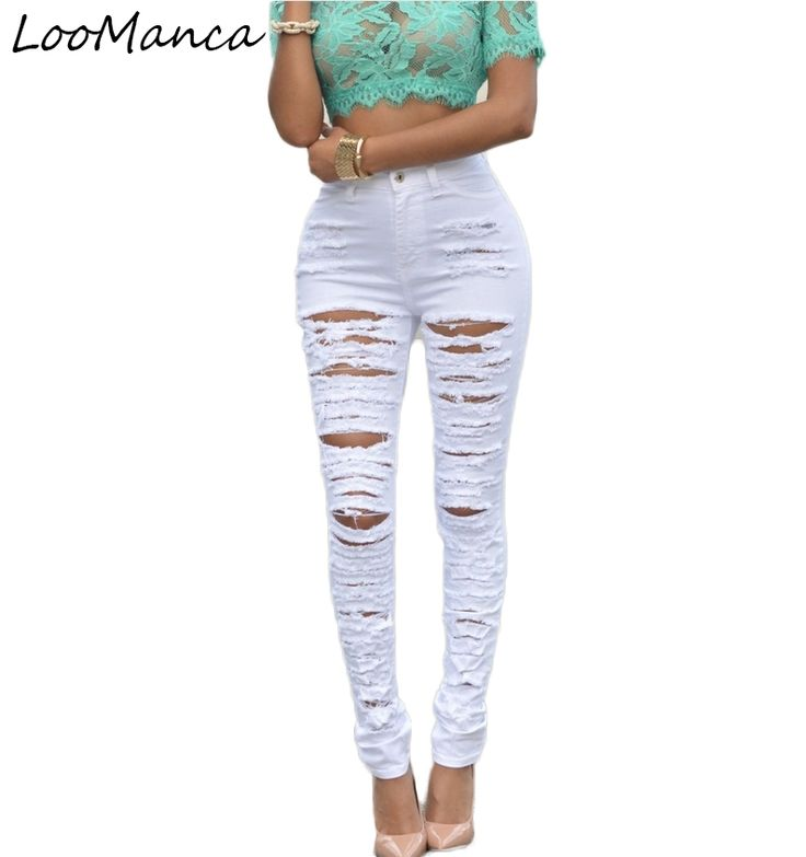 23.19$  Buy now - http://alicb7.shopchina.info/go.php?t=32729976851 - Fashion European Style white jeans woman high waist ripped jeans for women denim jean pants Holejeans woman pantalon femme 23.19$ #shopstyle