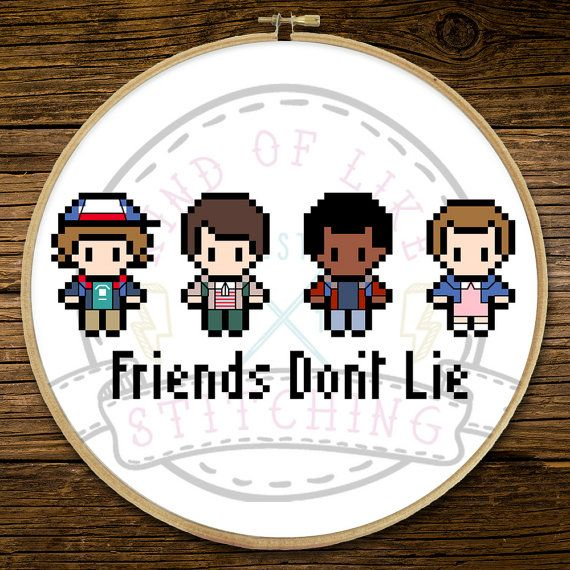 Stranger Things - Friends Dont Lie Full colour cross stitch pattern with…