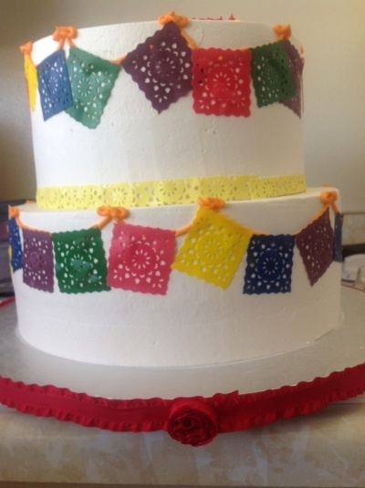 PAPEL PICADO FIESTA CAKE By angelgaby1243 on CakeCentral.com