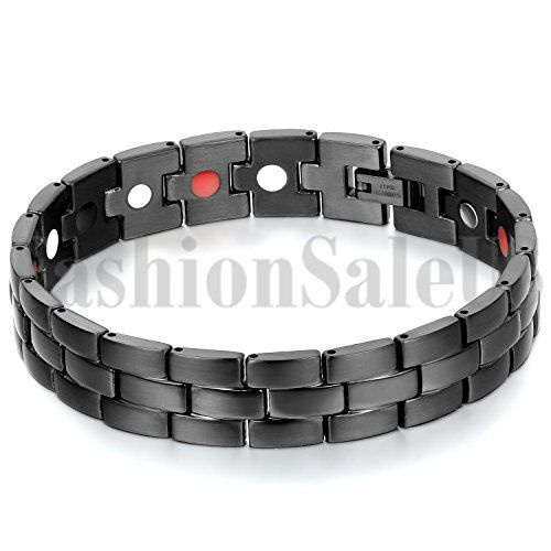 Mens Black Stainless Steel Watch Strap Ceramic Magnet Health Bracelet Chain ** See this great product-affiliate link-affiliate link.