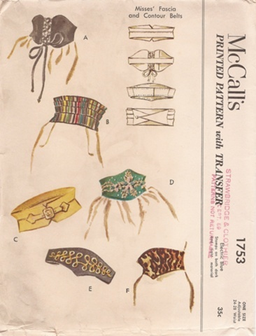 A wide belt/cummerbund filled vintage sewing pattern that I would absolutely love to find one day. #vintage #sewing #pattern #belts