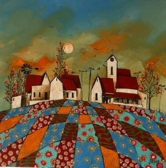Patchwork landscape - Acrylic - artist Glendine - Alice Art Gallery