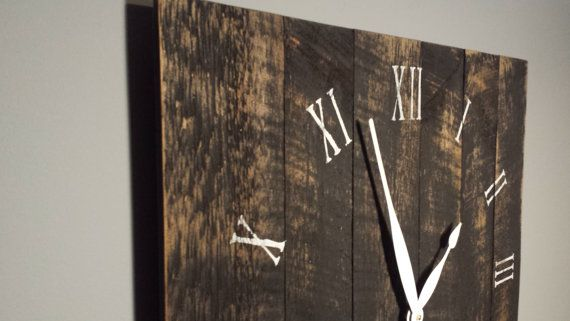 "24"" Large Rustic Wall Clock. Made from rough cut lumber that has been finished to give it that barn wood, reclaimed lumber look."