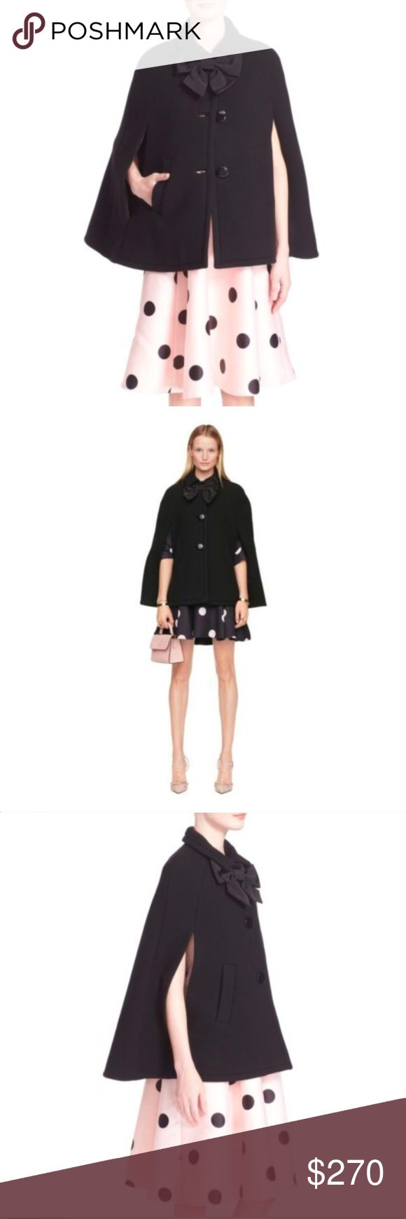 """Kate spade Bow Capelet Poncho/Cape in Black Size:S Retail:$678 Detail: A tonal grosgrain bow adds a signature kate spade touch to a charming layering piece crafted from a hearty wool blend. Glossy buttons finish the fanciful, effortlessly elegant design. Front button closure. Cape fit. Two front Pockets. Lined. 78% wool, 22% polyamide. Lining:96% polyester, 4% Elastane. Dry clean. By kate spade new york. Imported. Measurements: Length:27.5"""" kate spade Jackets & Coats Capes"""