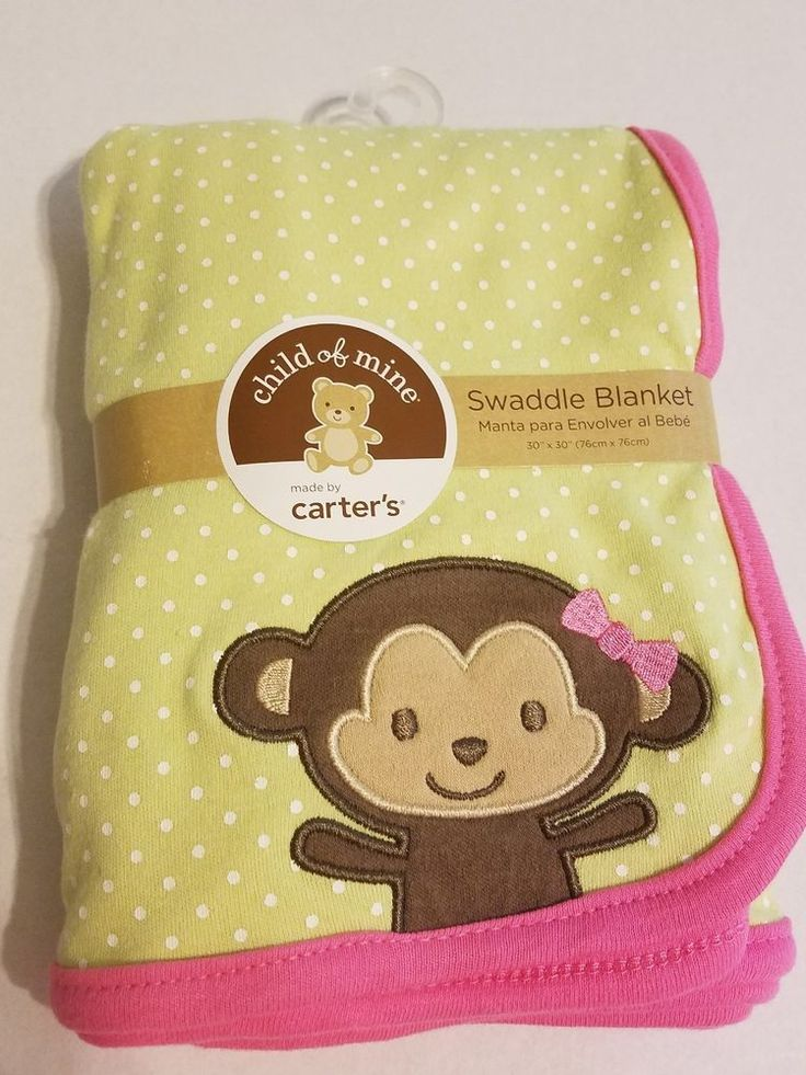 Child of Mine Carters baby blanket monkey green polka dot NEW #childofmine