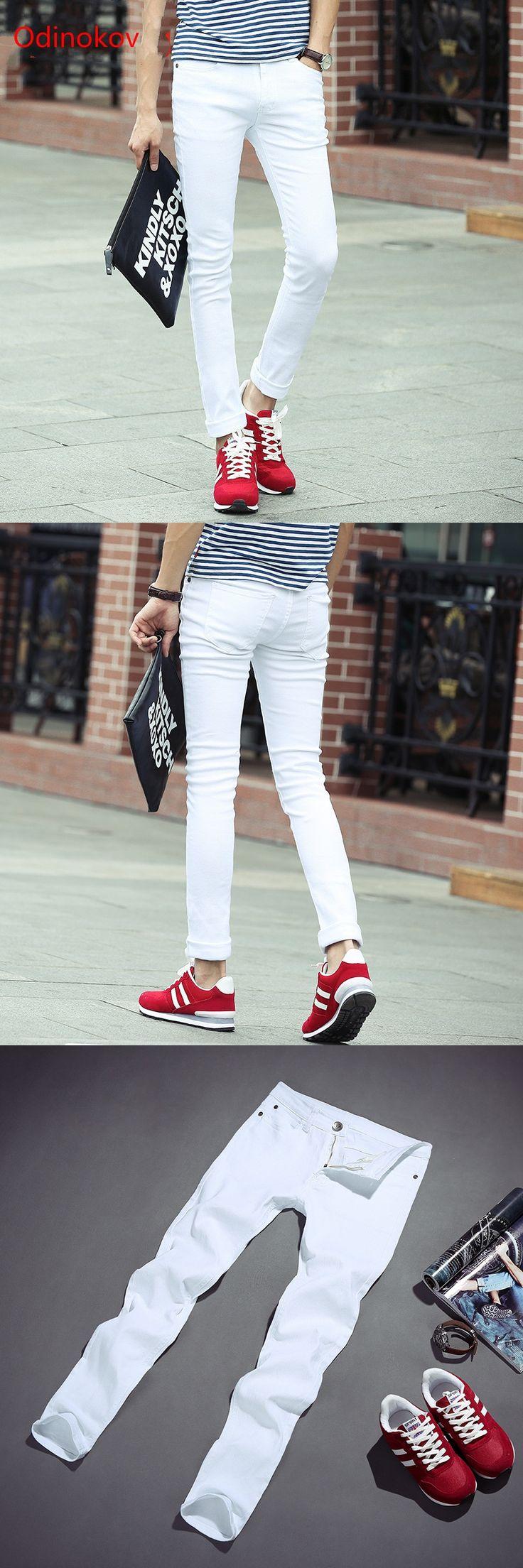 2017 New Arrival  Zipper Fly Slim Mid Plaid Pencil Pants Men White Jeans Fashion Design Slim Fit Casual Skinny Jeans For Men