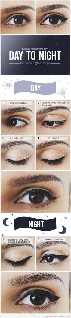 Tutorial paso a paso, hacer cat eyeliner o línea del ojo con rabillo