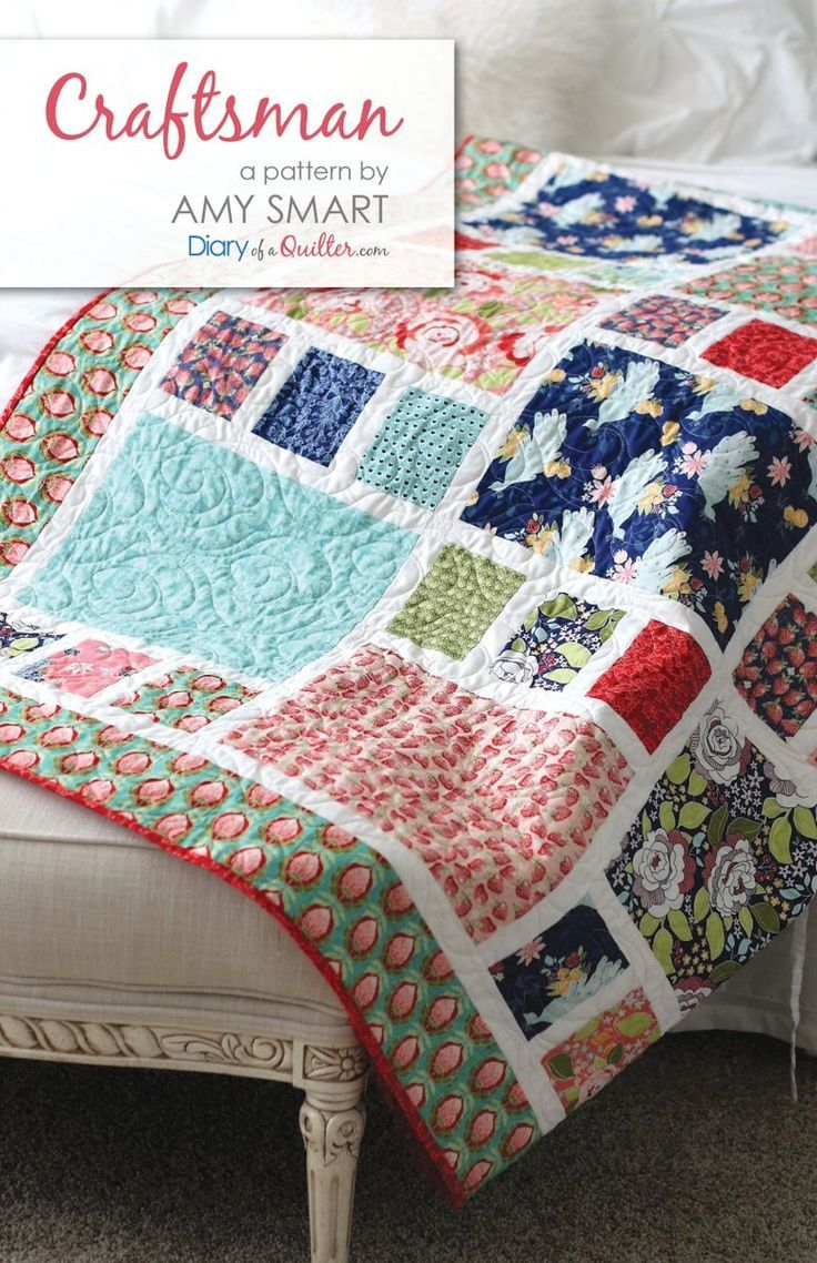 """Craftsman Quilt Pattern - $9.95 - Downloadable PDF PATTERN The perfect quilt for showing off large prints. Throw-size (77"""" x 90"""") Fabric Requirements: 13 Fat Quarters 1..."""