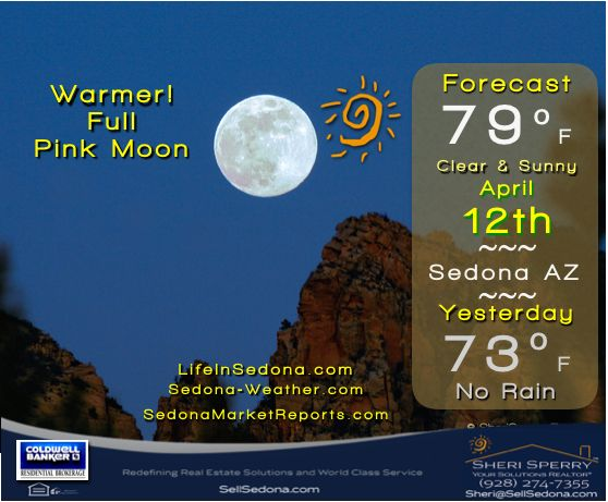 Wednesday April 12 - Sunset 6:57p MST - Record 78º (2013)     Forecast shows next 10 days - sunny & clear  http://Sedona-Weather.com #Sedona #Weather courtesy of Sheri Sperry #ColdwellBanker #Realtor® #sellsedona #livethedream #redrocks #fullmoon #pinkmoon