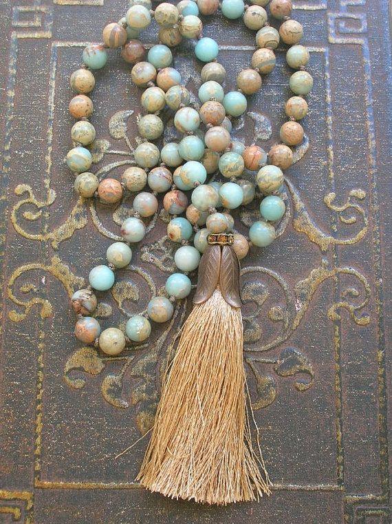 Perlen Quaste Halskette Boho Schmuck Journey von 3DivasStudio