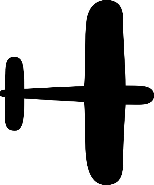 simple airplane outline cut out for decoration in red yellow and blue