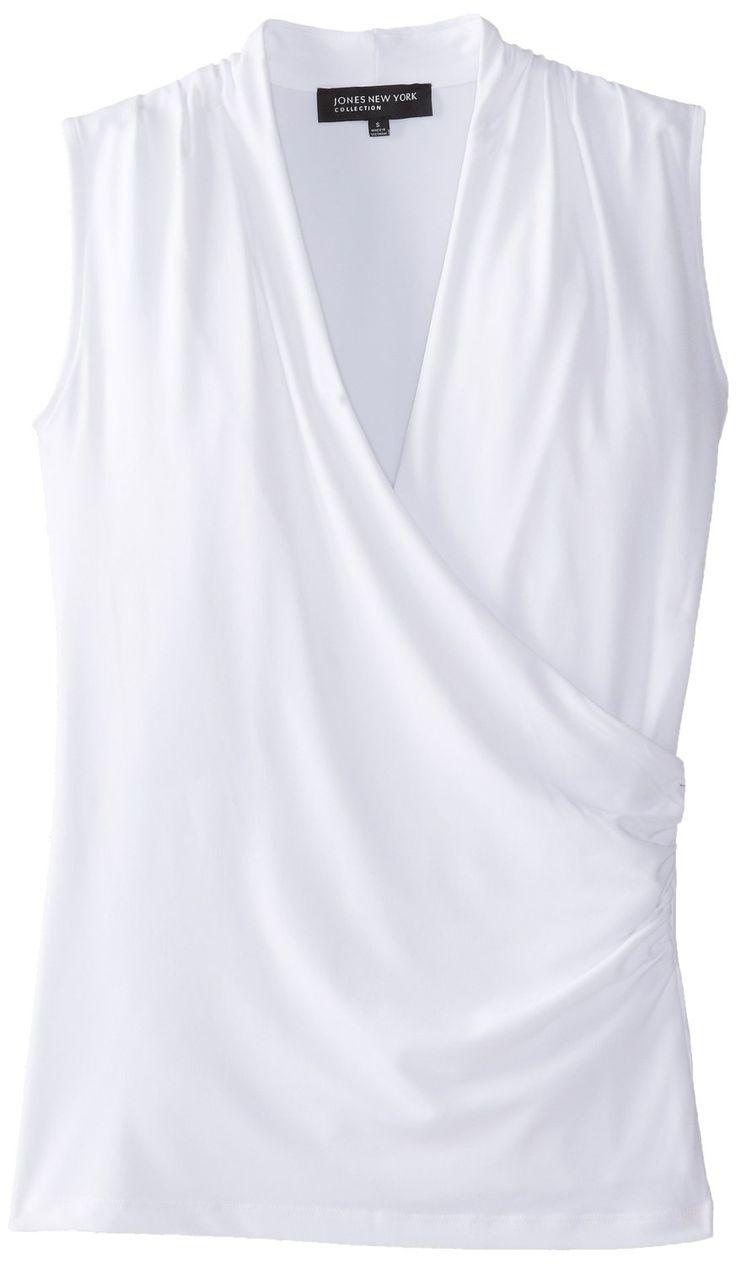 Jones New York Women's Sleeveless Wrap Top-Shell $49