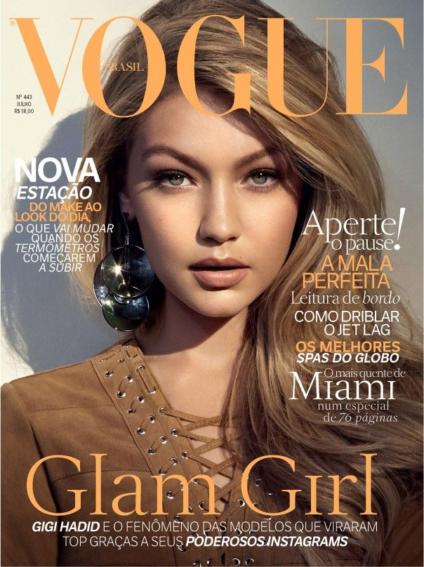 Gigi Hadid stars on the July 2015 cover of Vogue Brazil