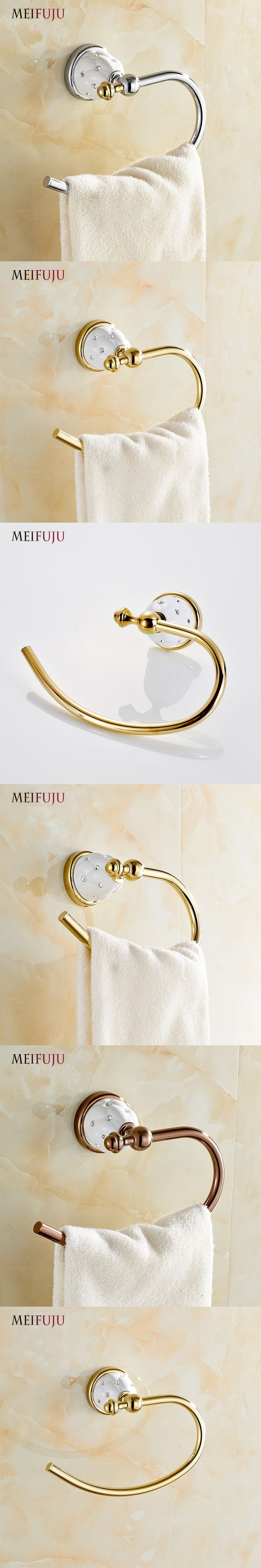 MEIFUJU Modern Towel Ring Solid Brass Copper Golden Finished Bathroom Accessories Products ,Towel Holder,Towel Bar Free Shipping