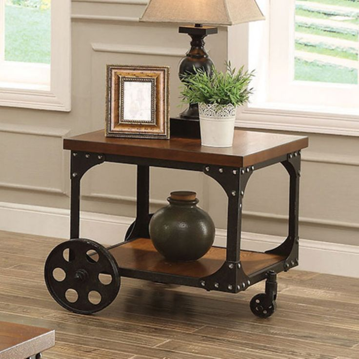 Coaster Furniture Wood End Table with Metal Casters - 701127