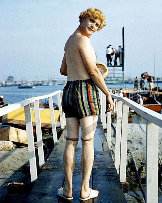Jack Lemon during the shooting of 'Some Like it Hot', Billy Wilder,1958
