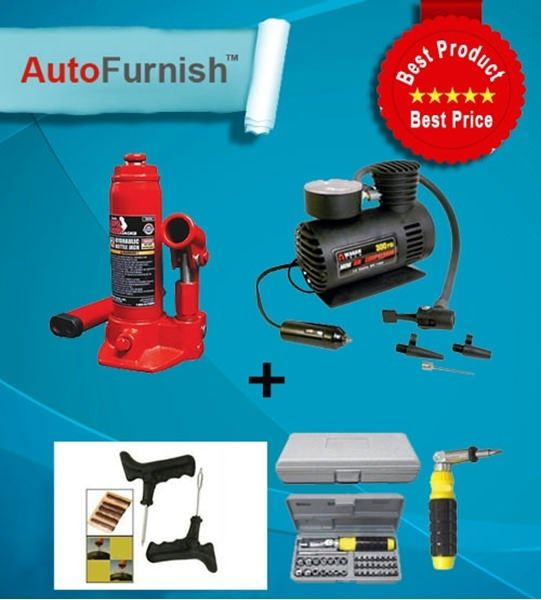 Combo Offer @ autofurnish 300 psi + 2 ton jack + punture kit + 31 pcs Tool kit