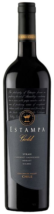 Estampa Gold Syrah 2009. 60% Syrah, 28% Cabernet Sauvignon, 7% Merlot and 5% Petit Verdot. The different components were vinified and aged separately. Carmenère aged in 70% French, 30% American oak, the rest in French between 80 and 100% new for 10-14 months. Dark coloured, rich textured, fruit of blackberry, raspberry, coffee and licorice, full-bodied with soft tannins, bright acidity and long length.