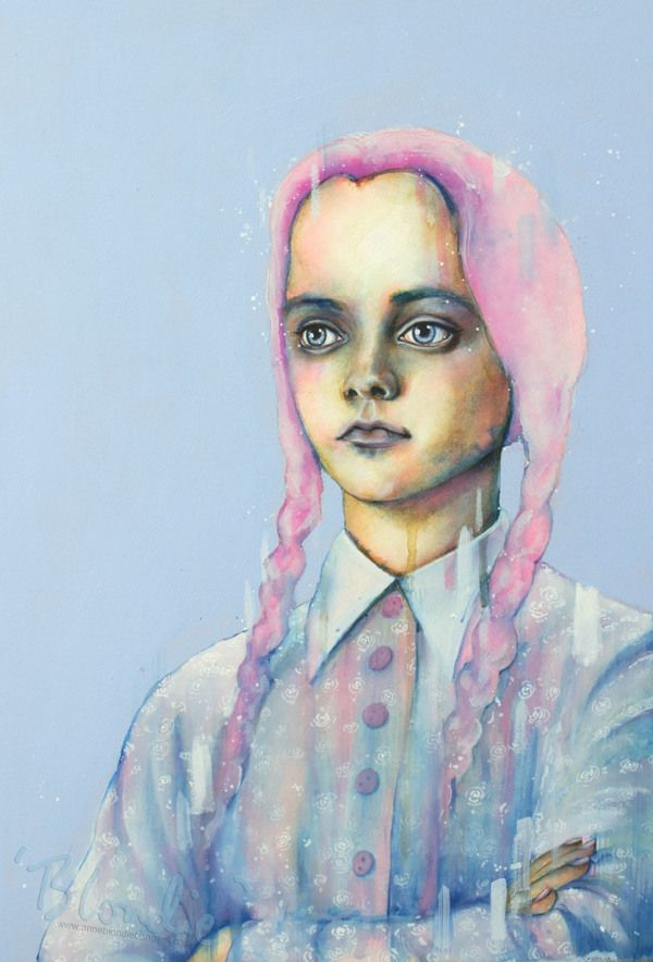 Pastel Goths by Anne 'Blondie' Bengard Exploring iconic goths in pastel colour schemes. Watercolour, drawing ink, goache. 2013