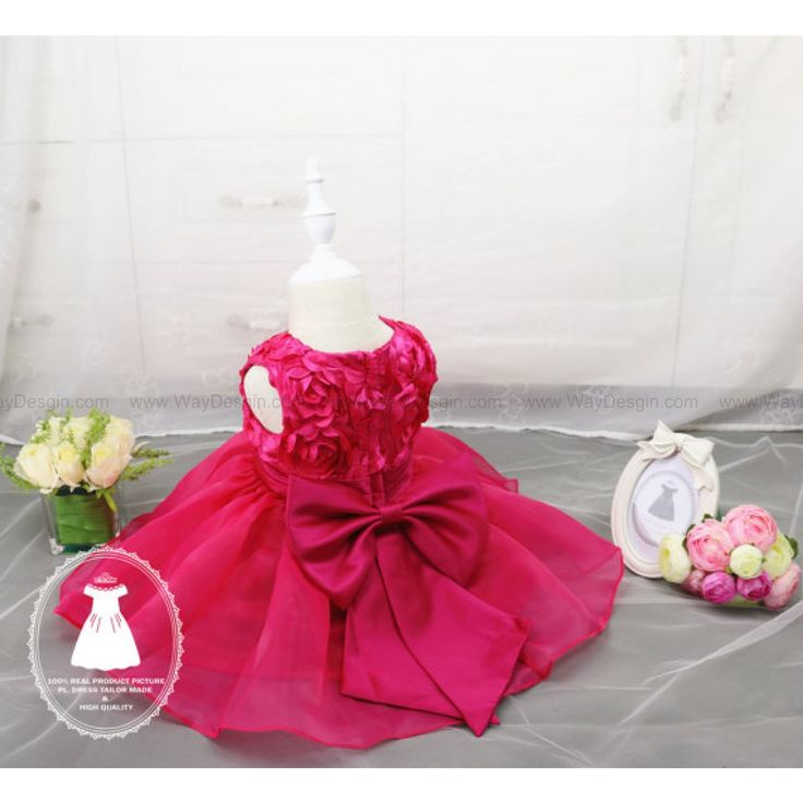 Christmas Dress Long/short sleeve Hot Pink Baby Pageant Dress,Birthday Dress 2 Year Old, Birthday Dress 1 Year Old