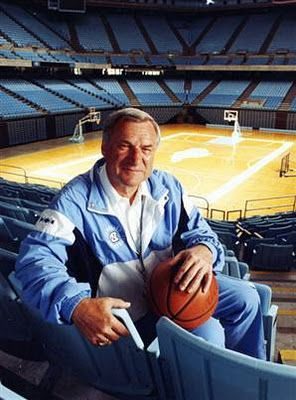 Dean Smith, the legendary coach of the  UNC Tar Heels for 36 years, is one of the top tier greatest basketball coaches of all time. He has been inducted into the NC Sports Hall of Fame and the National Collegiate Basketball Hall of Fame.