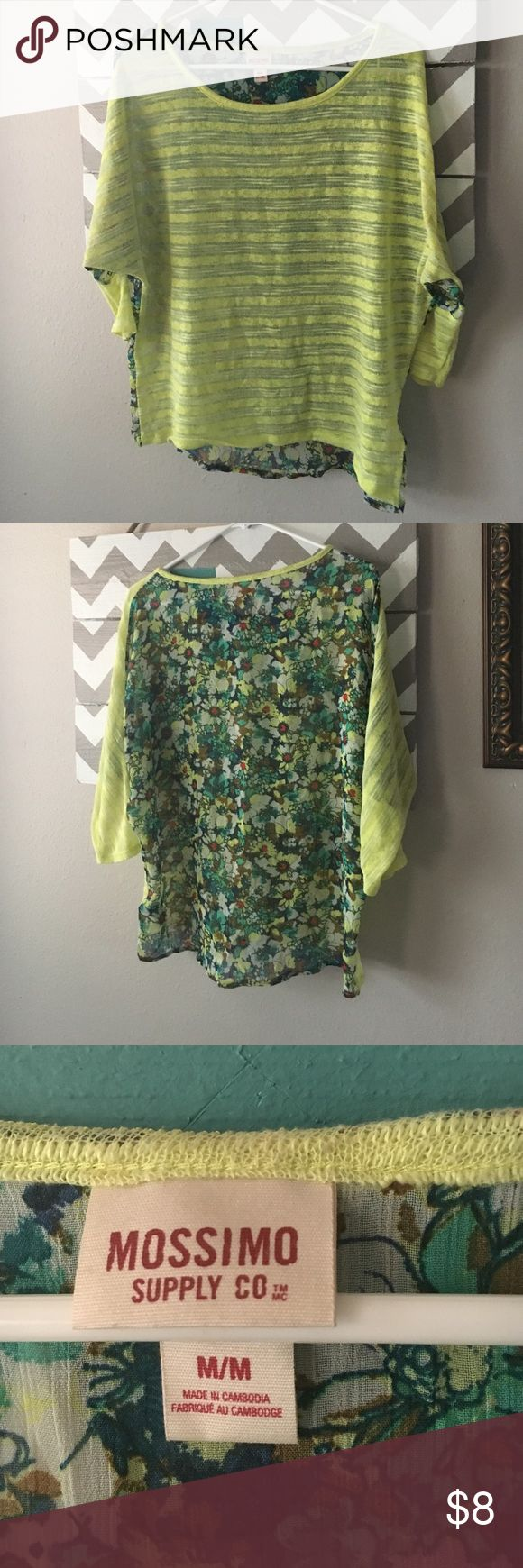 Neon yellow top with floral back Semi sheer. Loose fitting medium. I wore this at a size large and never too tight. Tops Blouses