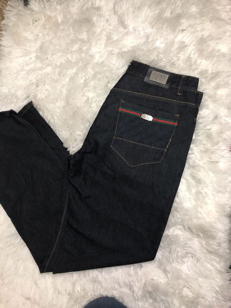 NWOT Men's Gucci Jeans Relaxed 36 Dark Wash Gucci Logo Red Green Pocket  #Gucci #Relaxed