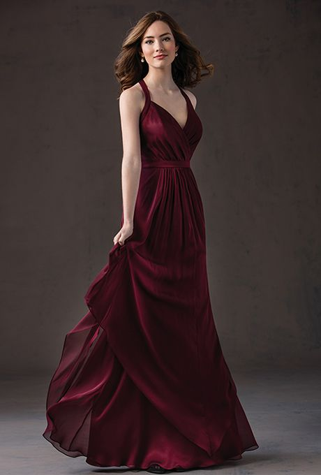 Brides: Belsoie by Jasmine. Chiffon bridesmaid dress with halter neckline, pleated bodice, natural waistline and chiffon layered floor-length skirt. Dress is also available in knee length.