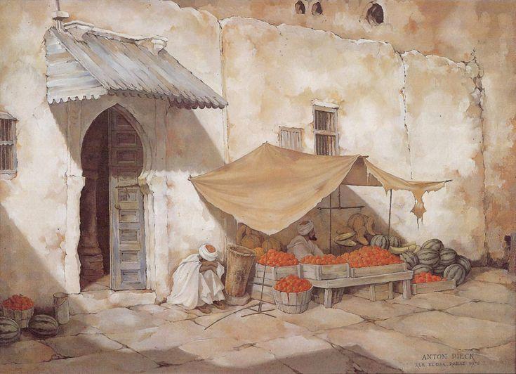 Rabat, Rue El Gza. In 1937 verblijft Pieck een aantal weken in Marokko, waar hij vele reistekeningen maakt. Bijna 40 jaar later baseert hij hierop dit olieverfschilderij.
