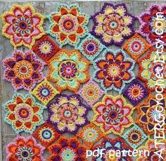 Häkeln Sie Muster Blumen Babydecke von von ATERGcrochet auf Etsy