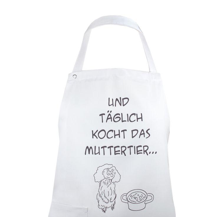 """witzige Geschenke für Mama - Küchenschürze mit lustigem Aufdruck """"und täglich kocht das Muttertier"""""""