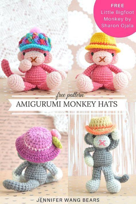 FREE pattern: Crochet Amigurumi Monkey Hats | Jennifer Wang Bears (free Little Bigfoot Monkey by Sharon Ojala)