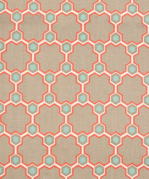 DESIGN: CORDOBA 1007-4  COLOURWAY: CORAL / MOONSTONE  CONSTRUCTION: HAND PRINTED ON HAND CRAFTED BALTIC LINEN  COMPOSITION: 100% HIGHEST QUALITY PURE FLAX