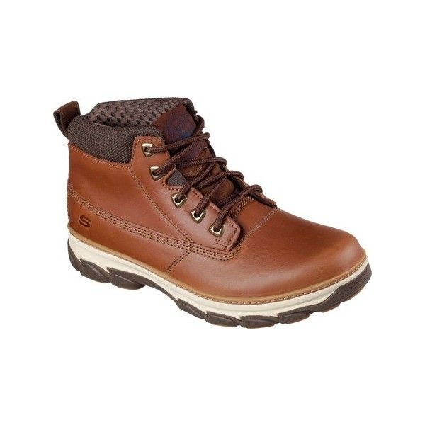Men's Skechers Relaxed Fit Resment Alento Boot - Tan Casual ($98) ❤ liked on Polyvore featuring men's fashion, men's shoes, men's boots, casual, leather boots, tan, mens lace up boots, mens fur lined boots, mens boots and skechers mens shoes