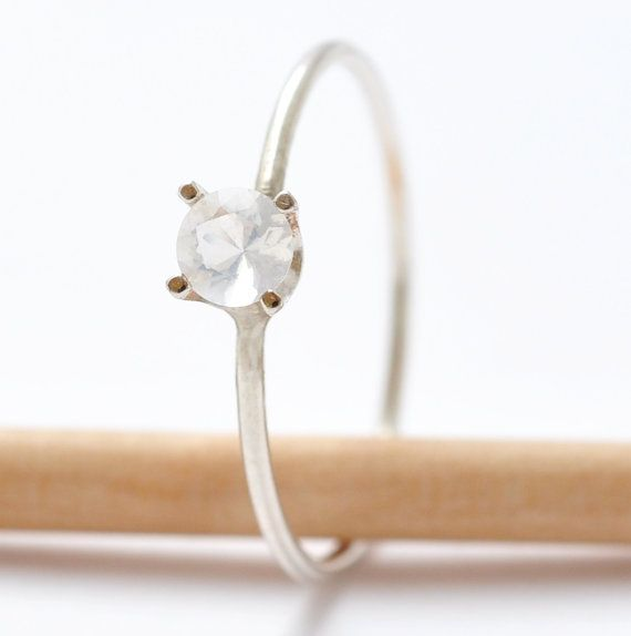 Promise Ring Opal White Stone Promise Ring Band White Gemstone October Birthstone Round Girls Ring Precious Stone Thin Small Ring on Etsy, $60.00