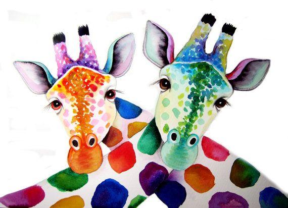 Ein paar von Giraffen Kunstdruck entnommen meiner original Aquarell-Malerei. Dieser Druck ist in 4 Größen von A4 bis A1... Eine lebendige, farbenfrohe und