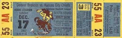 Unused ticket to Denver Broncos vs. Kansas City Chiefs (AFL) - Bears Stadium, December 17, 1967