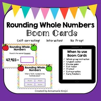 Digital Boom Cards are a great way to get your students engaged and excited about learning! Be sure to download my preview for an interactive sample of this set of Boom Cards! Your students will practice rounding whole numbers up to the millions place in a variety of ways, such as fill in the blank, multiple choice, and multiple select.