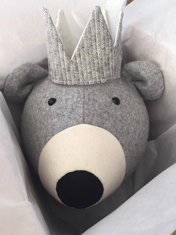 Faux Taxidermy Bear Head Fabric Wall Mounted Animal Head Nursery