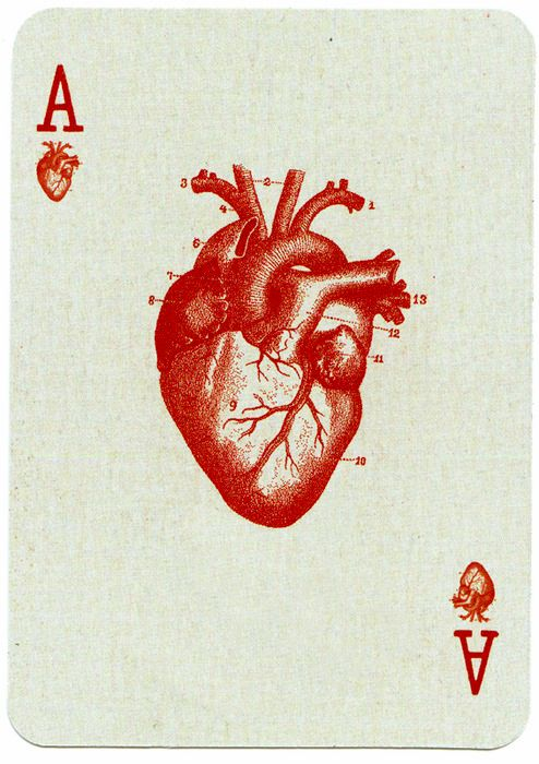 Combining my two current fave motifs, anatomically correct hearts and playing cards.