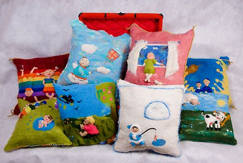 Felted pillows for my exhibition at Vinzavod