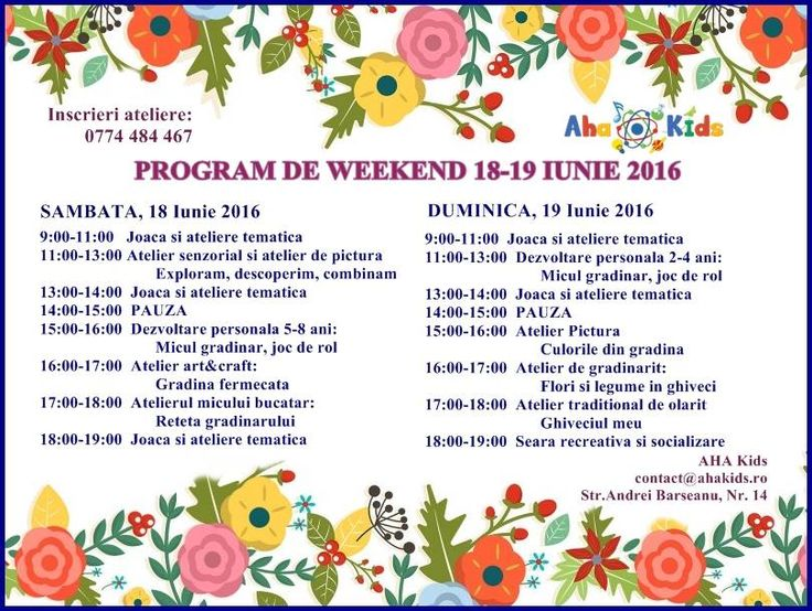 Invitatie la ateliere de weekend la AHA Kids