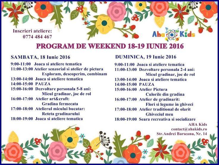 Invitatie la ateliere de weekend la AHA Kids