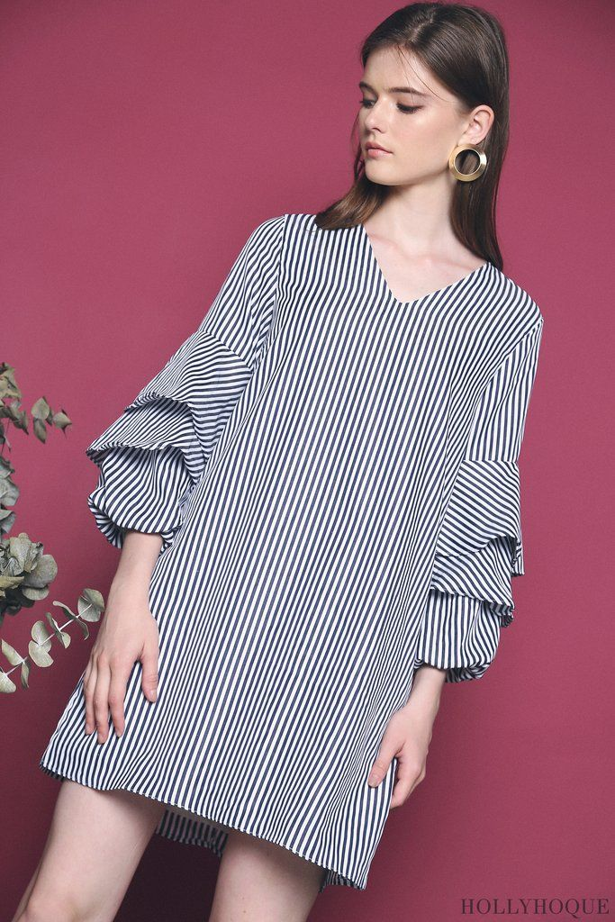 Clea Stripe Dress Black