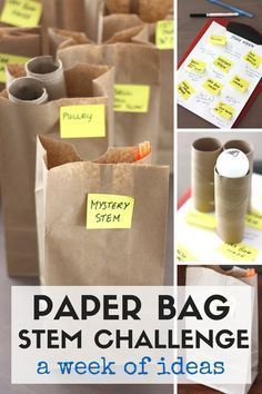 Fun paper bag STEM challenges for a week of STEM activities. STEM challenges for kindergarten and grade school age kids. Activities use simple supplies and recycled items.