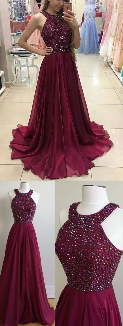 Fashion Halter Neck Beaded Long Prom Dress