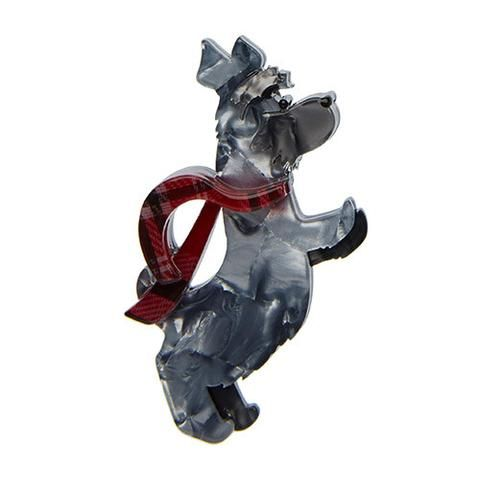 "Erstwilder Limited Edition Stand Scottie, Stand! Brooch. ""We're very glad that Scottie has decided to stop running. For the time being at least. How long can he stay like this though?"""