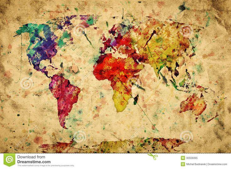 Картинки по запросу акварельная карта мира